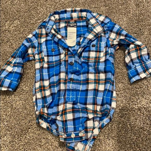 Boys flannel collared onesie